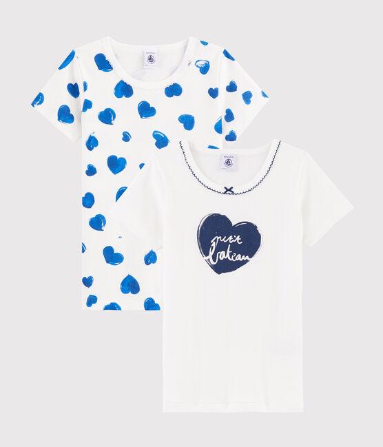 Set mit 2 kurzärmligen T-Shirts mit Herzchen-Muster für kleine Mädchen lot .