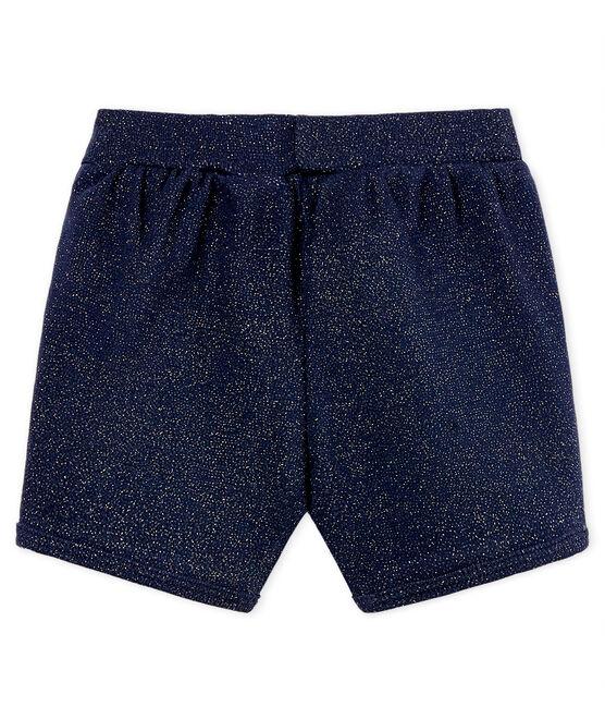 Glänzende baby-shorts mädchen blau Smoking / gelb Or