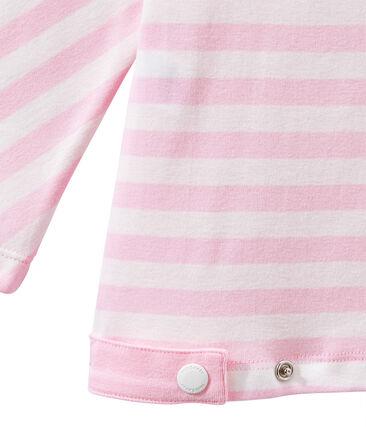 Gestreiftes Damen-Shirt mit 3/4-Ärmeln rosa Babylone / weiss Marshmallow