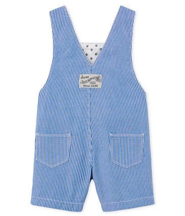 Gestreifte Baby-Kurzlatzhose für Jungen blau Surf / weiss Ecume