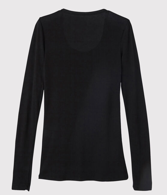 Leichtes Damen-T-Shirt, leichter Rippstrick schwarz Noir