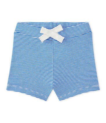 Gestreifte Baby-Jungen-Shorts blau Perse / weiss Marshmallow