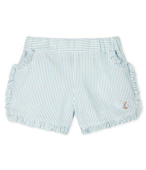 Baby-Shorts für Mädchen aus Seersucker weiss Marshmallow / blau Acier