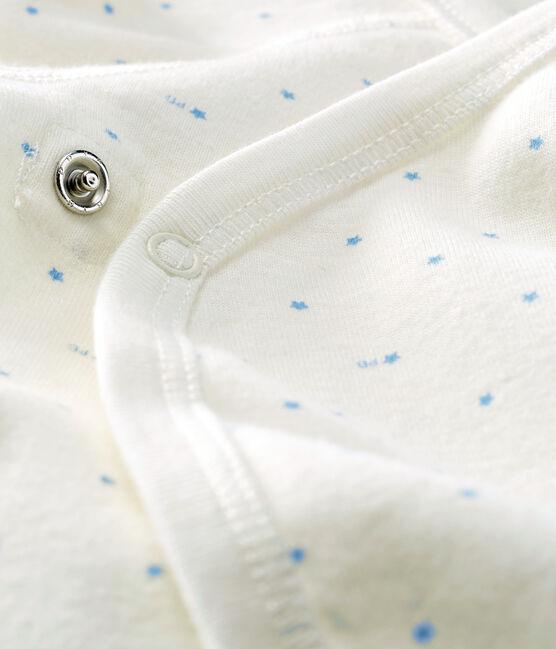 Langärmeliger Body für Neugeborene weiss Marshmallow / blau Acier