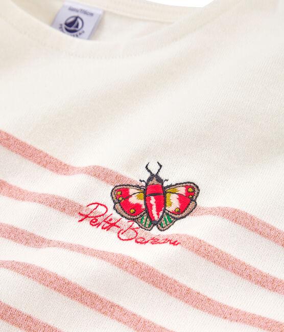 Kinder-Seemannshemd Mädchen weiss Marshmallow / rosa Joli Brillant