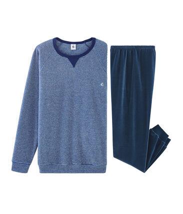 Pyjama aus Bi-Material für Jungen. blau Major / grau Subway