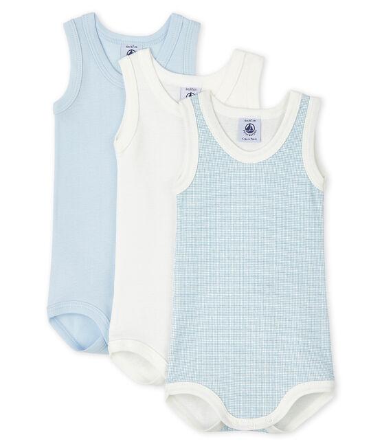 3er-Set ärmellose, blaue und weiße Baby-Bodys für Jungen lot .