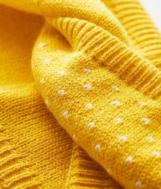 Baby-Schlauchschal für Mädchen mit Jacquard gelb Honey / weiss Marshmallow