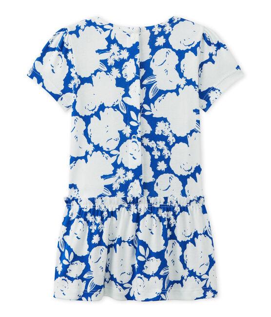 Geblümtes Baby-Mädchen-Kleid weiss Marshmallow / weiss Multico