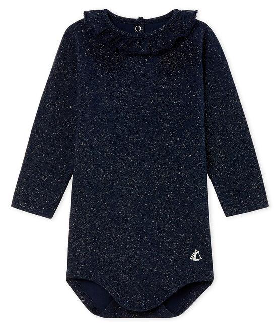 Langärmliger gemusterter Baby-Body mit breitem Rüschenkragen für Mädchen blau Smoking / gelb Dore
