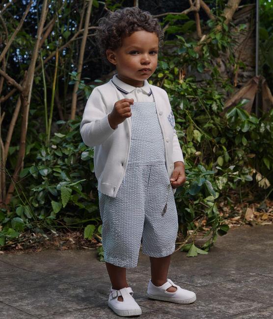 Gestreifte baby-kurzlatzhose jungen blau Fontaine / weiss Marshmallow