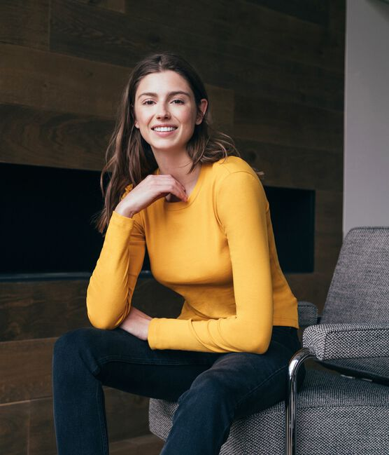 Emblematisches langärmliges T-Shirt für Damen gelb Boudor