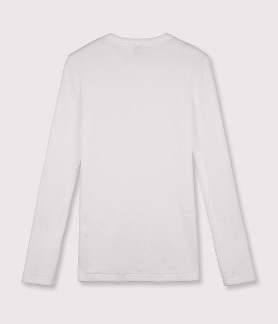 Ikonisches Damen-T-Shirt aus Baumwolle mit Rundhalsausschnitt weiss Ecume