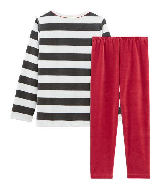Samt-Pyjama für kleine Jungen rot Terkuit / weiss Multico