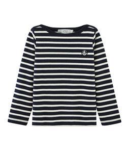 Emblematisches Kinder-Streifenshirt für Jungen blau Smoking / beige Coquille