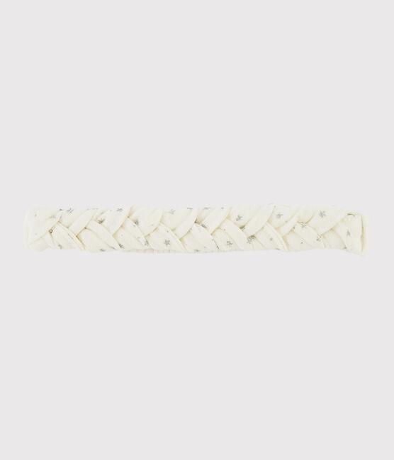 Baby-Haarband für Mädchen weiss Marshmallow / grau Argent