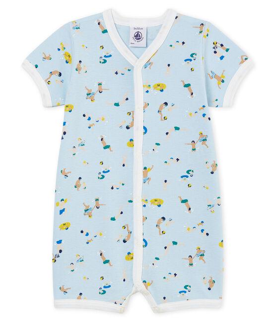 Baby-Kurzoveralls aus Rippstrick für Jungen blau Toudou / weiss Multico Cn
