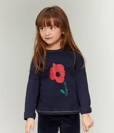 T-Shirt mit Siebdruck für Mädchen blau Smoking