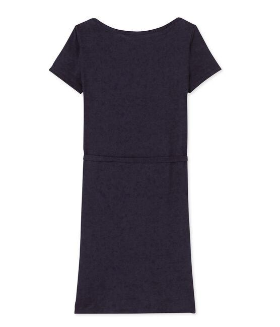 Damen-Kleid aus Leinen blau Smoking
