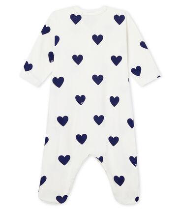 Baby-Strampler aus Rippstrick für Mädchen-Jungen weiss Marshmallow / blau Medieval