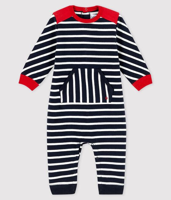 Langer Baby-Overall für Jungen blau Smoking / weiss Marshmallow