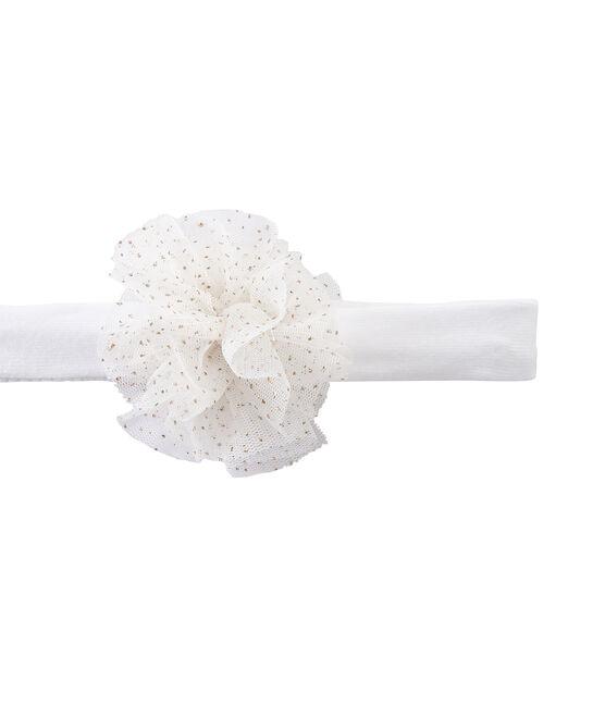Mädchen-Haarband mit Blume weiss Marshmallow