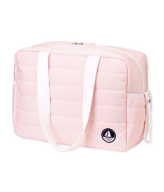 Wickeltasche aus gestepptem Polyester. rosa Rosako / weiss Marshmallow