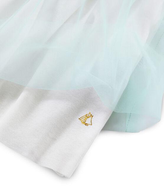 Kurzarm-Kleid für Mädchen weiss Marshmallow / weiss Multico