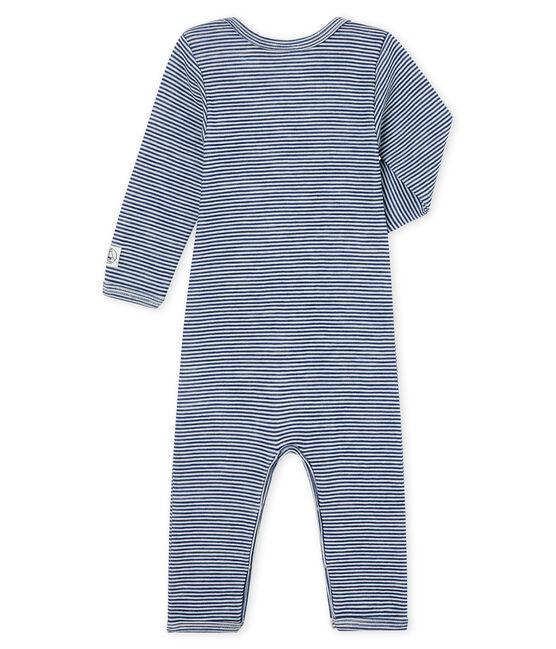 Baby-Body mit langen Beinen aus Wolle und Baumwolle blau Medieval / weiss Marshmallow