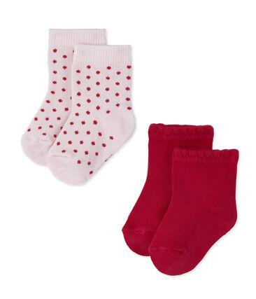 Set aus 2 Paar Baby-Mädchen-Socken in Uni + gepunktet lot .