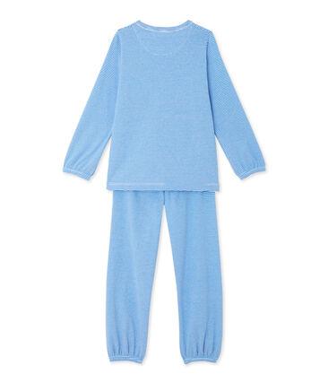 Geringelter Schlafanzug für Mädchen blau Delphinium / weiss Ecume