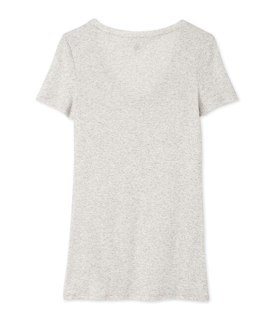 T-shirt femme col V en coton léger grau Beluga Chine