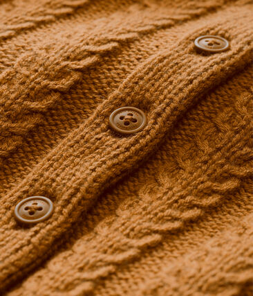 Unisex Baby Strickjacke aus Woll/Baumwollgemisch im Zopfstrickmuster