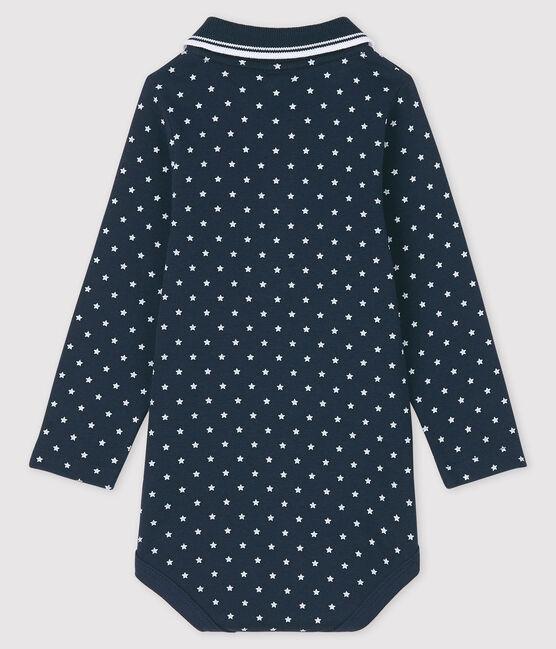 Langärmliger Baby-Body mit Polokragen blau Smoking / weiss Marshmallow