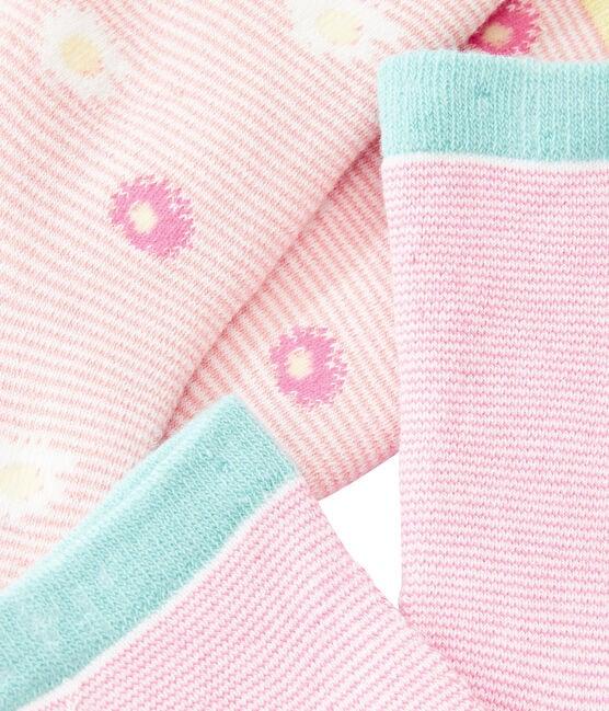 Set aus 2 Paar Kinderstrümpfen für Mädchen blau Marshmallow:smoking / weiss Marshmallo