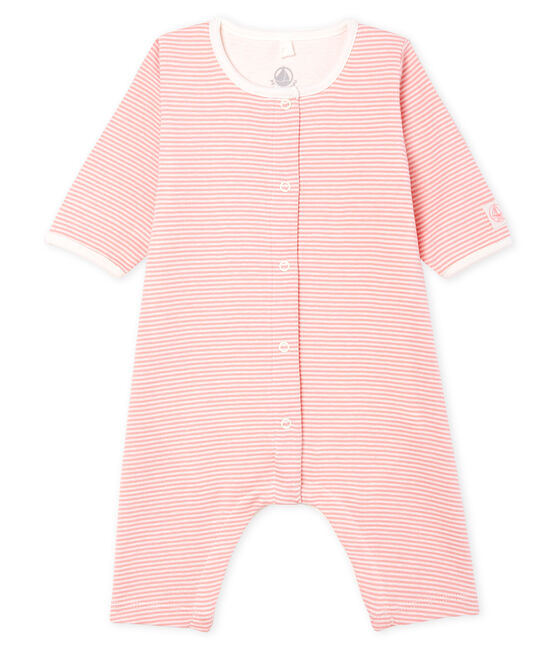 Bodyjama ohne Füße aus Rippstrick für Mädchen rosa Charme / weiss Marshmallow