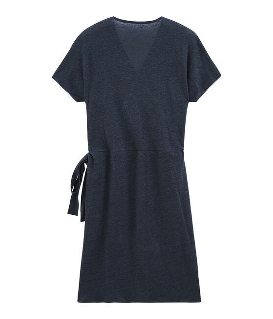Kurzärmeliges glänzendes leinenkleid damen blau Smoking / rosa Copper