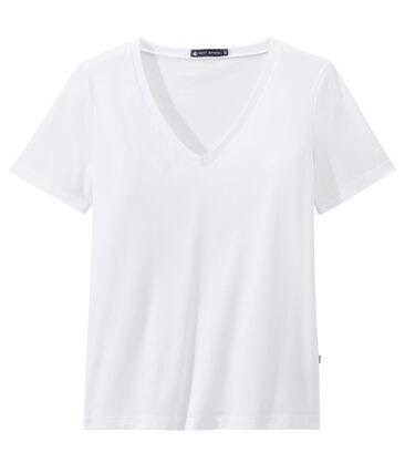 """Damen-T-Shirt """"COL V"""" aus feinem Jersey weiss Ecume"""