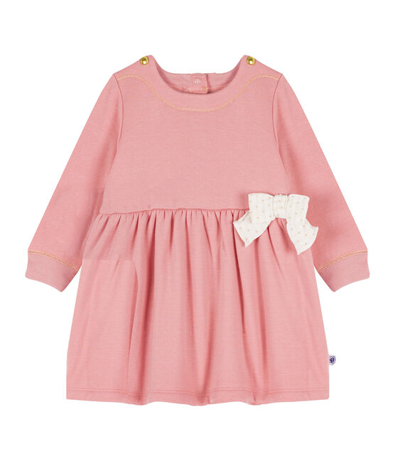 Langärmeliges Babykleid aus Samtstrick für Mädchen rosa Charme