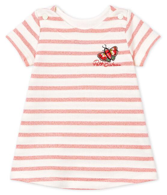 Kurzärmeliges gestreiftes Babykleid für Mädchen weiss Marshmallow / rosa Joli Brillant