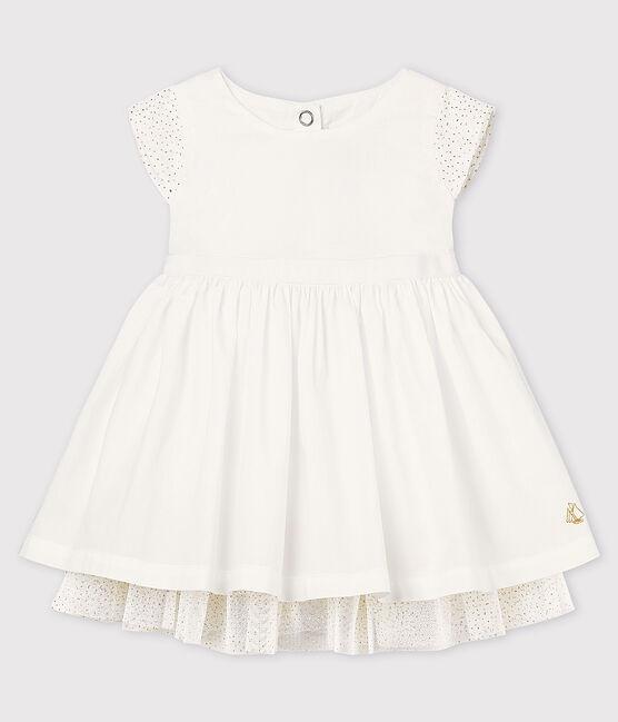 Baby-Festtagskleid aus Popeline und Tüll Mädchen weiss Ecume