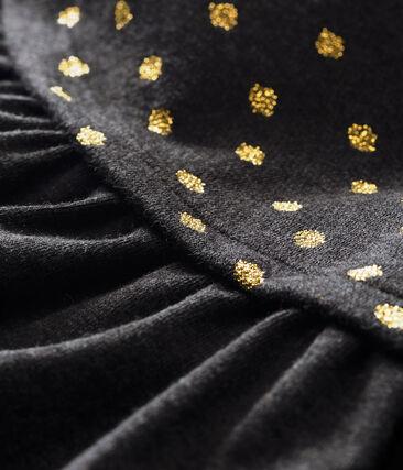 Baby MädchenKleid im Materialmix mit goldenem Punktmuster