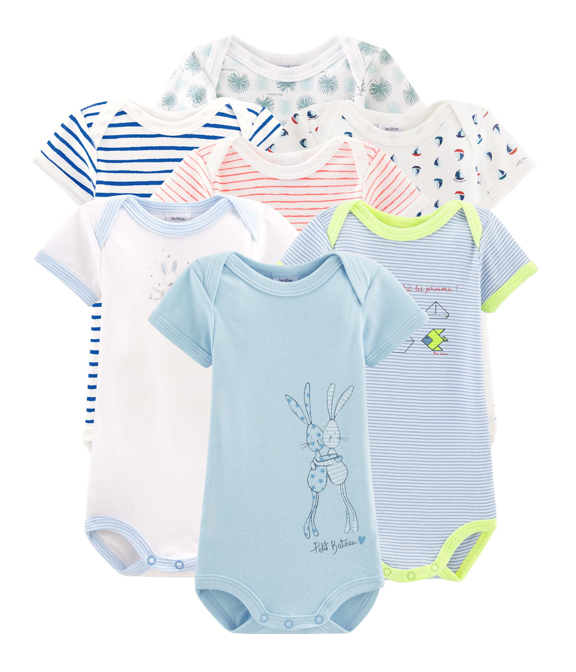 Überraschungsbeutel mit 7 kurzärmeligen baby-bodys für jungen